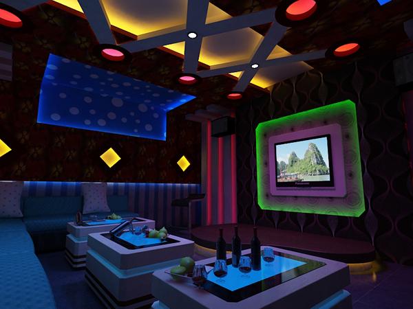 Thiết kế nội thất karaoke kèm đèn led